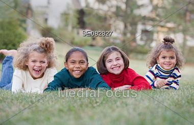 Four Kids Having Fun Stock Photo