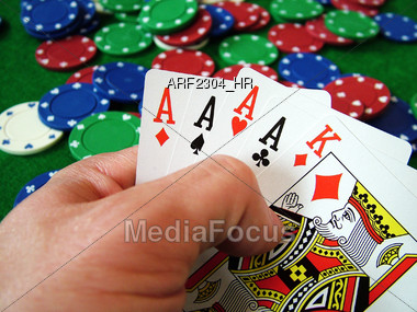 Four Of A Kind Poker Hand Stock Photo