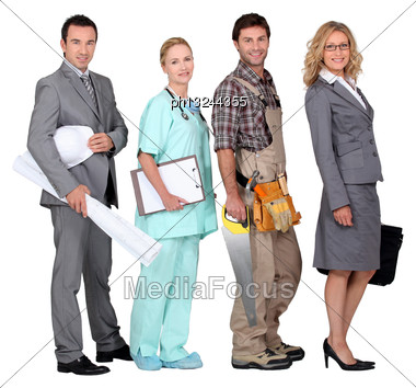 Four People And Their Occupations Stock Photo