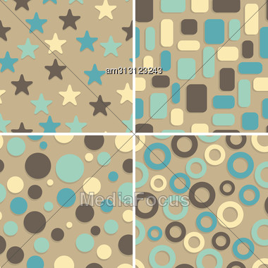 Four Retro Abstract Vector Seamless Patterns, Can Be Used As Pattern, Backgrounds, Christmas Wrapping Paper Stock Photo