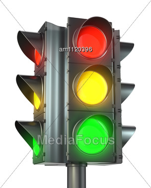 Four Sided Traffic Light With Red Yellow And Green Lights Stock Photo