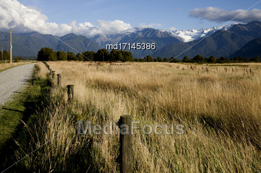 Fox Glacier New Zealand Rural Dirt Road Southern Alps Stock Photo