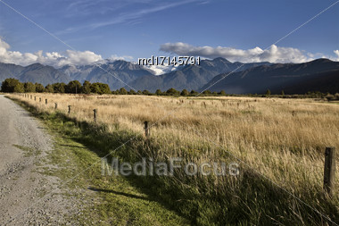 Fox Glacier New Zealand Rural Dirt Road Southern Alps Stock Photo