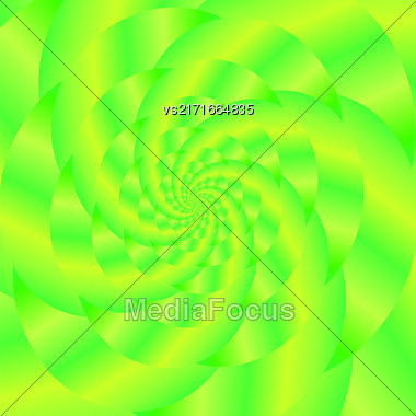 Fractal Design. Abstract Sphere. Green Spiral Background. Fractal Pattern Stock Photo