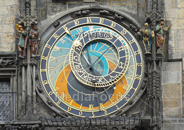 Fragment Of Astronomica Clock On Staromestska Square, Prague, Czech Republic Stock Photo