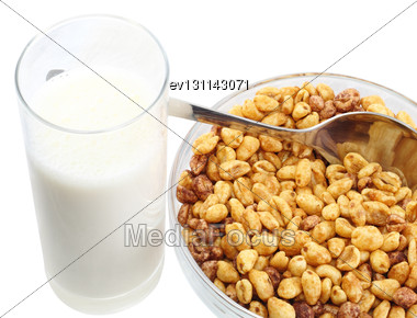Fragment Of Milk's Glasses With Bowl Cold Cereal Flakes. Isolated Stock Photo