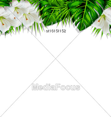 Frame Border Background Branch With Tropical Leaves And White Flowers Lily, Space For Text, Design Template - Vector Stock Photo