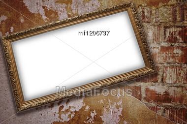 Frame With Emty Blank On The Grunge Bricks Wall Background Stock Photo