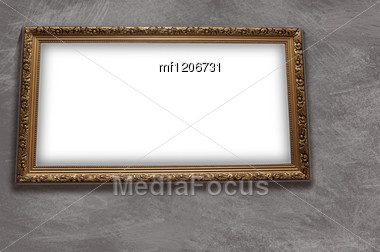 Frame With Emty Blank On The Grunge Wall Background Stock Photo