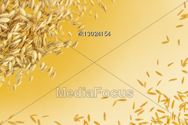 Frame From The Stems And Grains Of Oats Isolated On Yellow Background Stock Photo
