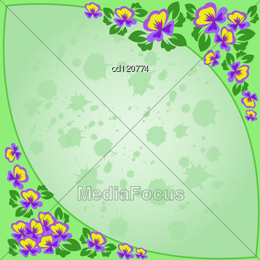 Frame Of Purple Flowers On A Green Background Splashed Stock Photo
