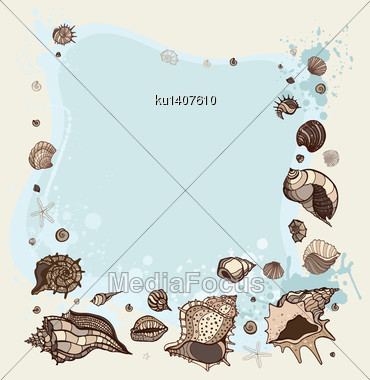 Frame Of Seashells. Summer Background. Vector Illustration Stock Photo