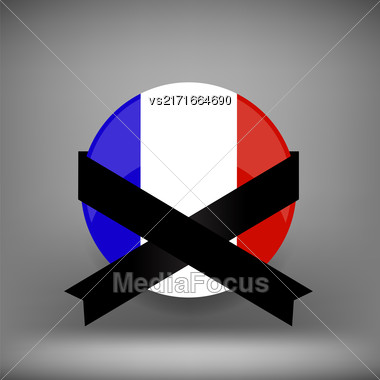 Franch Icon With Black Ribbon On Grey Background Stock Photo