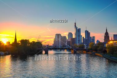 Frankfurt Am Maine Cityscape At Sunset Stock Photo