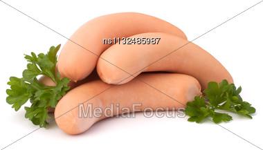 Frankfurter Sausage Isolated On White Background Stock Photo