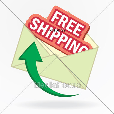 Free Shipping Sign In Envelope Vector Illustration Stock Photo