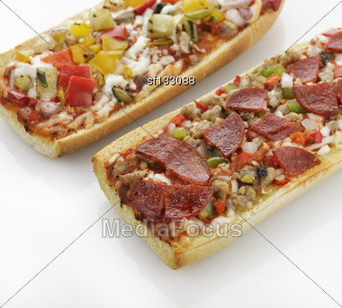 French Bread Pizza With Grilled Vegetables And Pepperoni Stock Photo