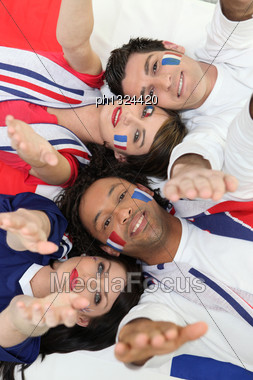 French Football Fans Stock Photo