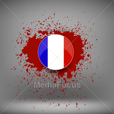 French Icon And Blood Splatter On Soft Grey Background Stock Photo