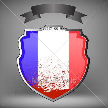 French Shield And Black Ribbon Idolated On Grey Background Stock Photo