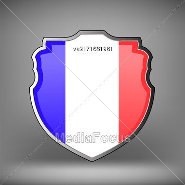 French Shield Isolated On Soft Grey Background Stock Photo