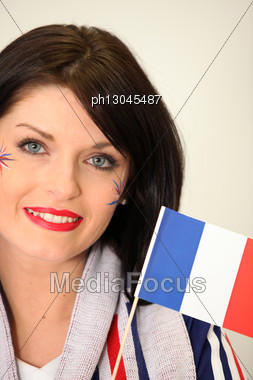 French Supporter Waving Miniature Flag Stock Photo
