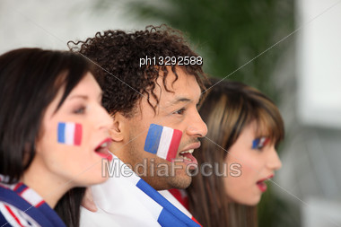 French Supporters Screaming Stock Photo