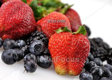 Fresh Berries Assortment , Close Up Stock Photo