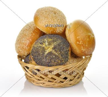 Fresh Breakfast Rolls Assortment In A Basket Stock Photo