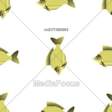 Fresh Carp Isolated On White Background. Seamless Fish Pattern Stock Photo