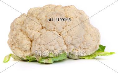 Fresh Cauliflower Isolated On A White Background Stock Photo