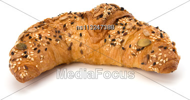 Fresh Croissant Isolated On White Background Stock Photo