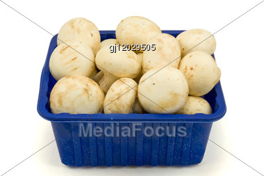 Fresh Field Mushrooms In A Basket On White Stock Photo