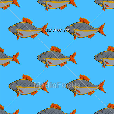 Fresh Fish Isolated On Blue Background. Seamless Fish Pattern Stock Photo