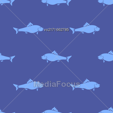 Fresh Fish Isolated On Blue Background. Seamless Pattern Stock Photo