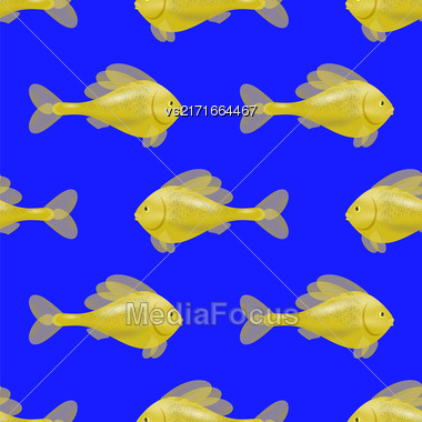 Fresh Fish Isolated On Blue Background. Seamless Yellow Fish Pattern Stock Photo