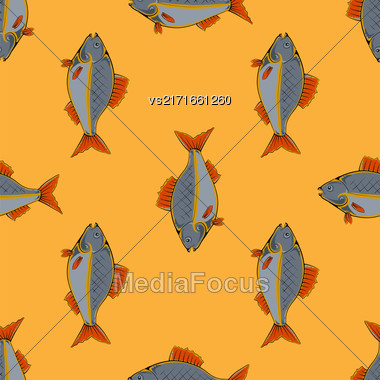 Fresh Fish Isolated On Orange Background. Seamless Fish Pattern Stock Photo