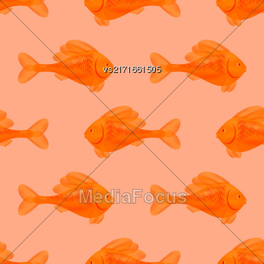 Fresh Fish Isolated On Pink Background. Seamless Orange Fish Pattern Stock Photo