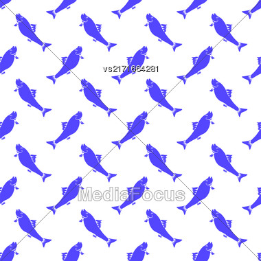 Fresh Fish Isolated On White Background. Seamless Pattern Stock Photo