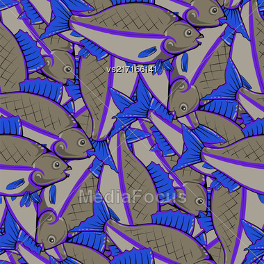 Fresh Fishes With Blue Fins And Tails. Seamless Sea Food Pattern Stock Photo
