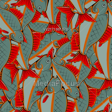 Fresh Fishes With Red Fins And Tails. Seamless Sea Food Pattern Stock Photo