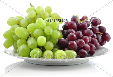 Fresh Grape On A Plate Stock Photo