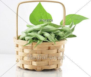 Fresh Green Beans In A Basket Stock Photo