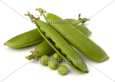 Fresh Green Pea Pod Isolated On White Background Stock Photo