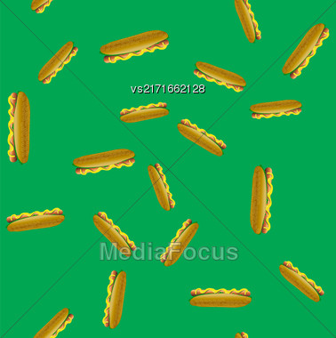 Fresh Hot Dog Seamless Pattern On Green Background. Fastfood With Bun And Grilled Sausage Stock Photo