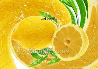 Fresh Juicy Lemons Against Abstract Lemon Rotation Stock Photo