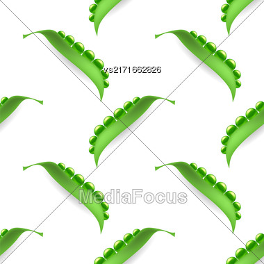 Fresh Natural Green Peas Seamless Pattern Isolated On White Stock Photo