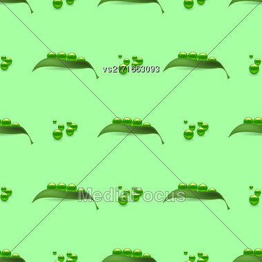 Fresh Natural Green Peas Seamless Pattern Isolated On Green Stock Photo