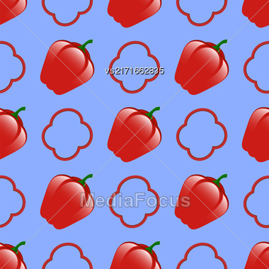 Fresh Red Seamless Pattern On Blue Background Stock Photo