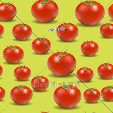 Fresh Red Tomato Pattern On Yellow Background Stock Photo